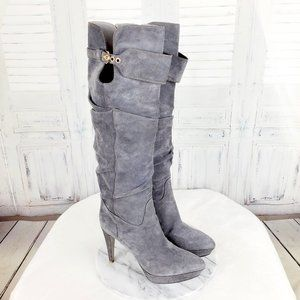Sergio Rossi Gray Tall Suede Knee High Heel Boots